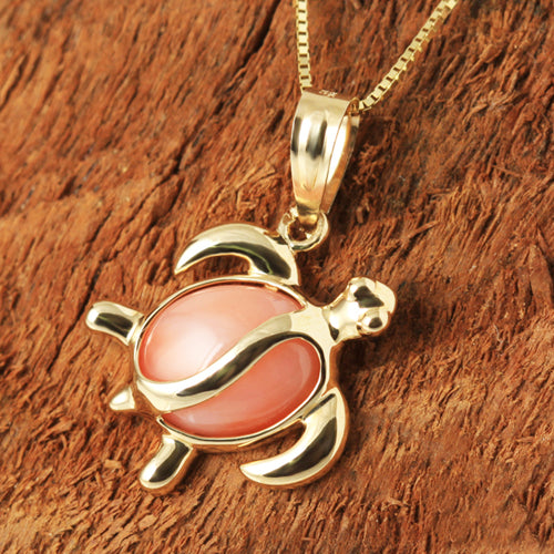 Yellow Gold Pink Coral Inlaid Honu(Hawaiian Turtle) Shape Pendant