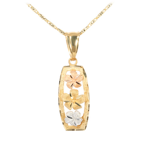 14K Tri-Color Gold Three Plumeria Vertical Pendant(S)