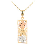 14K Tri-Color Gold Three Plumeria Vertical Pendant