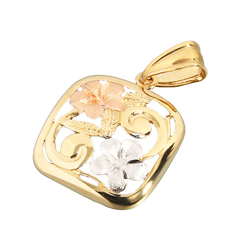 14K Tri-Color Two Plumeria Scroll Square Pendant
