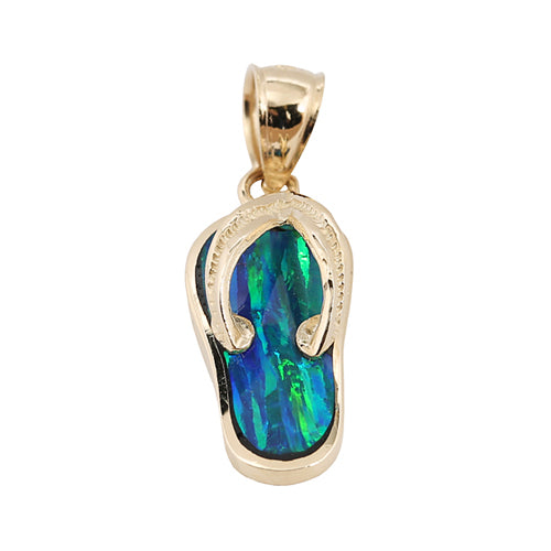 Yellow Gold Opal Inlaid Slipper(Flip Flop) Pendant(Chain Sold Separately)