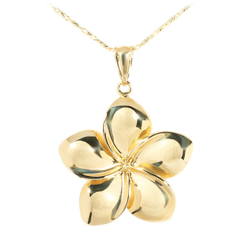 14K Yellow Gold Plumeria Pendant 22mm