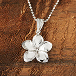 14K White Gold Plumeria Pendant 16mm