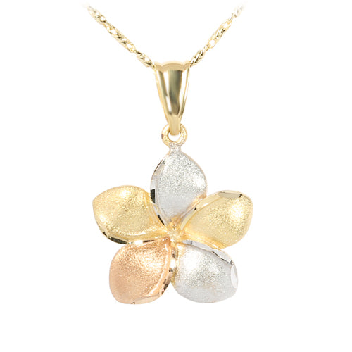 14K Tri-Color Gold Plumeria Pendant 12mm