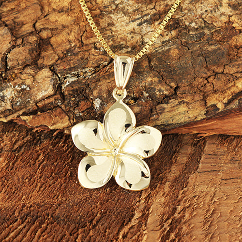 14K Yellow Gold Plumeria Pendant 12mm