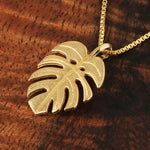 14k Yellow Gold Monstera Leaf Pendant