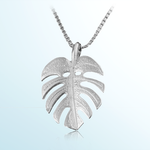 Monstera Lear Pendant 14k White Gold