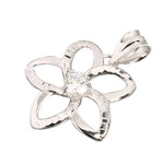 14K White Gold Plumeria Pendant with Clear CZ