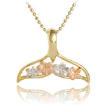 14 Yellow Gold Tri-color Whaletail Plumeria Pendant