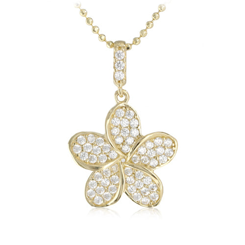 14K Yellow Gold Plumeria Pendant with Pave Clear CZ Set