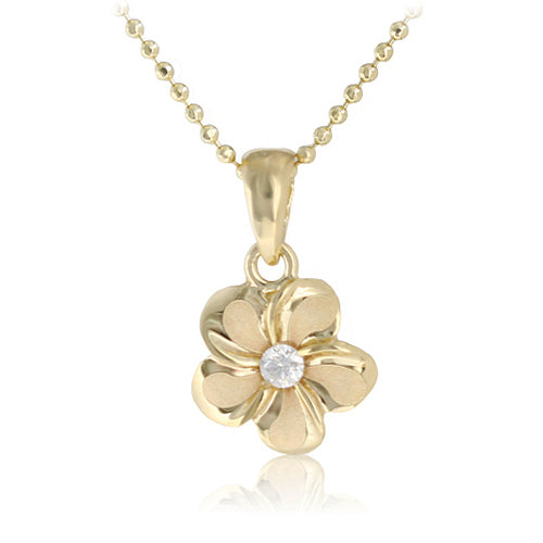 14K Yellow Gold Plumeria Pendant 9mm with Clear CZ