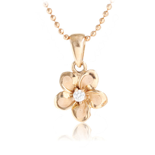 14K Pink Gold Plumeria Pendant 9mm with Clear CZ