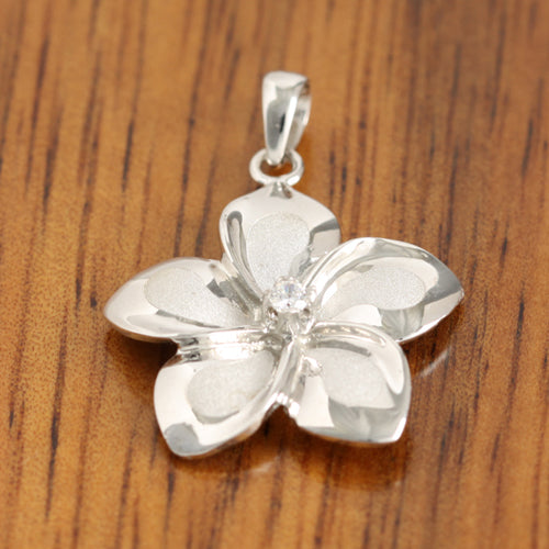 14K White Gold Plumeria Pendant 18mm with Clear CZ