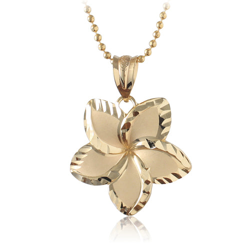 14K Yellow Gold Plumeria Pendant with 18mm