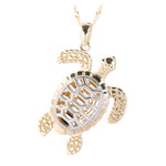 14K Two-Tone Yellow Gold and White Gold Sea Turtle (Honu) Pendant (Chain Sold Separately)
