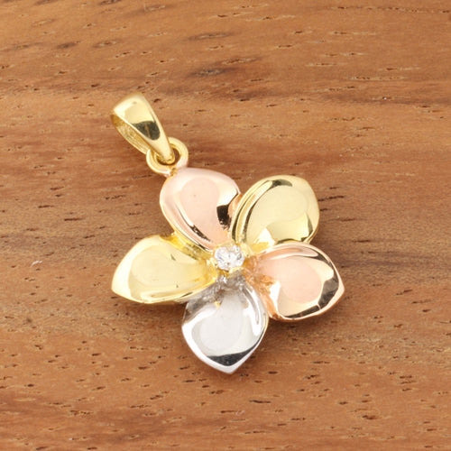 14K Gold Tri-Color 15mm Plumeria Pendant CZ Inlaid