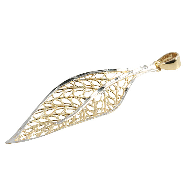 14K Yellow Gold Hollow Leaf Pendant(Chain Sold Separately)