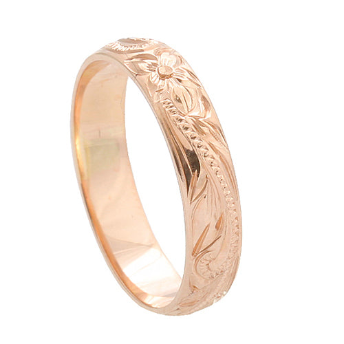 Hawaiian Jewelry 14K Pink Gold 4mm King Scrolling Ring