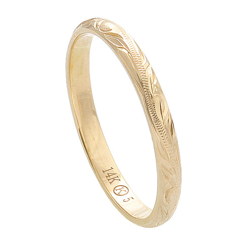Hawaiian Jewelry 14K Yellow Gold 2mm King Scrolling Ring