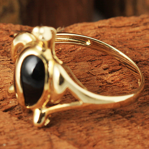 Yellow Gold Honu Shape with Black Coral Inlaid Hawaiian Ring