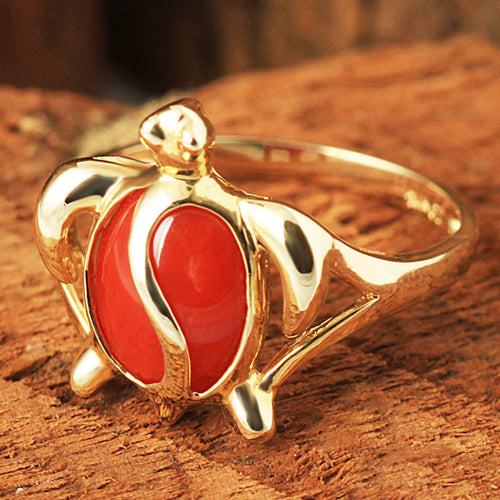 14K Yellow Gold Honu Shape with Red Coral Inlay Hawaiian Ring