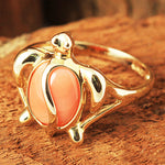 Yellow Gold Honu Shape with Pink Coral Inlaid Hawaiian Ring