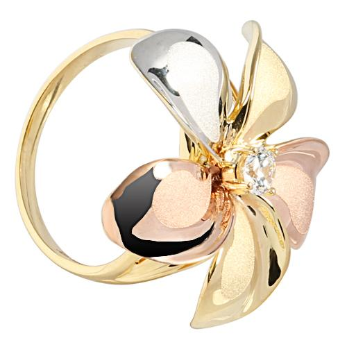 23mm 14K Gold tri-color Plumeria Ring with CZ Sandblast Polish Edge - Hanalei Jeweler