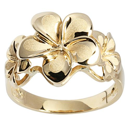 14K Yellow Gold Three Plumeria Ring Sandblast Polish Edge - Hanalei Jeweler