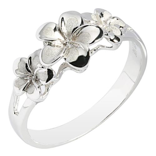 14K White Gold Triple Plumeria Ring NO CZ Sandblast Polish Edge - Hanalei Jeweler