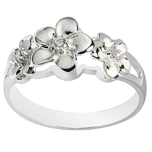 14K White Gold Triple Plumeria Ring with CZ Sandblast Polish Edge 6-8-6 - Hanalei Jeweler