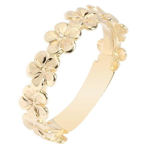 14K Yellow Gold Plumeria Lei Ring with High Polish Edge 5mm - Hanalei Jeweler
