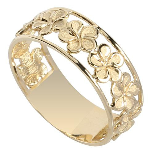 14K Yellow Gold See Through Plumeria Lei Ring 7mm - Hanalei Jeweler