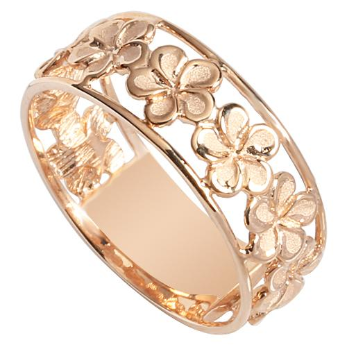 14K Pink Gold See Through Plumeria Lei Ring 7mm - Hanalei Jeweler