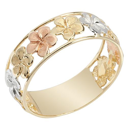 14K Gold Tri-color See Through Plumeria Lei Ring 7mm - Hanalei Jeweler