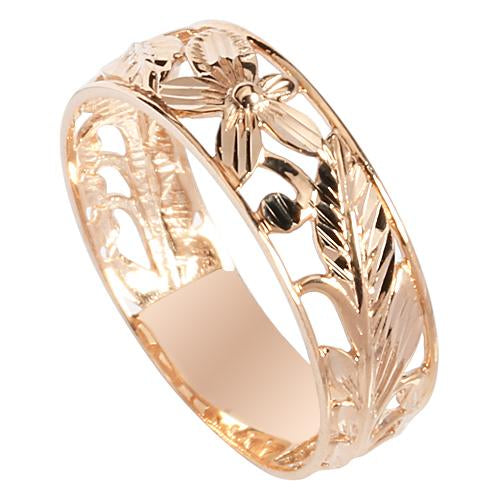 14K Pink Gold See Through Maile Leaf Plumeria Ring 6mm - Hanalei Jeweler
