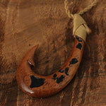 Koa Wood with Hawaii Island Map Carving Fish Hook Necklace