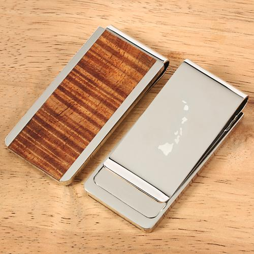 Classic Style Original Hawaii Koa Wood Inlaid Stainless Steel Made Money Clip