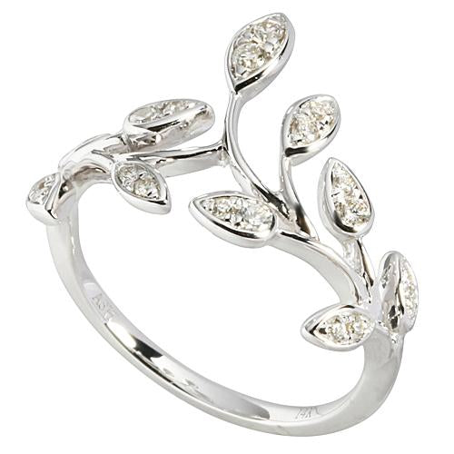 0.27 ct. t.w.  Diamond Ring in Solid 14K White Gold Maile Leaf