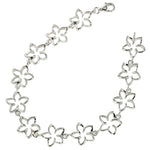 Sterling Silver 12mm Floating Plumeria Bracelet