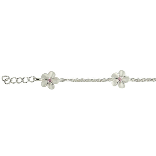 Sterling Silver Rope Chain Plumeria with Pink CZ Links Bracelet