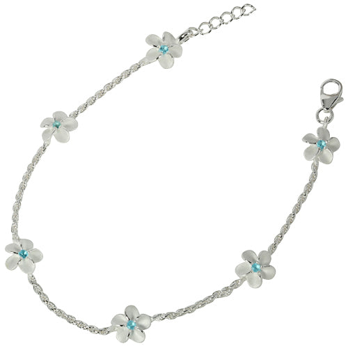 Sterling Silver Rope Chain Plumeria with Blue CZ Links Bracelet