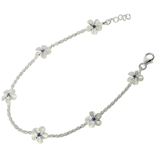 Sterling Silver Rope Chain Plumeria with Purple CZ Links Bracelet