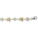 14K Yellow Gold Plated Sterling Silver Hawaiian Turtle(S) + 6mm Plumeria with Clear CZ Bracelet