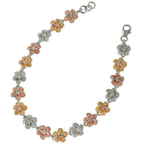 Tri-color Sterling Silver W/E Plumeria CZ Bracelet 8mm