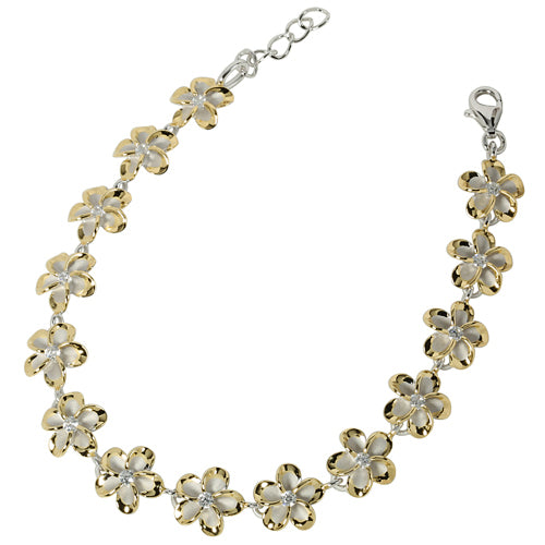 Sterling Silver 10mm Plumeria/cz Rhodium One Tone Bracelet