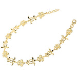 Yellow Gold Plated Sterling Silver 8mm CZ Plumeria Honu Bracelet