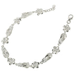 Sterling Silver Slipper Plumeria Bracelet Rhodium 8mm