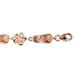 Sterling Silver Slipper Plumeria Bracelet Pink Gold Plated 8mm