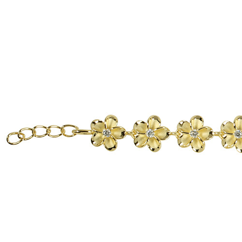 Sterling Silver 10mm Plumeria Bracelet Yellow Gold Plated