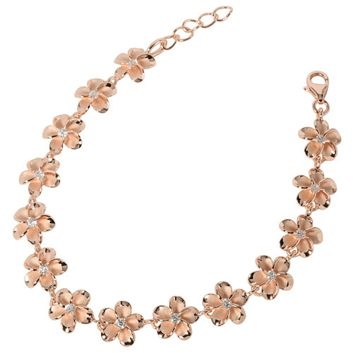 Sterling Silver 10mm Plumeria Bracelet Pink Gold Plated